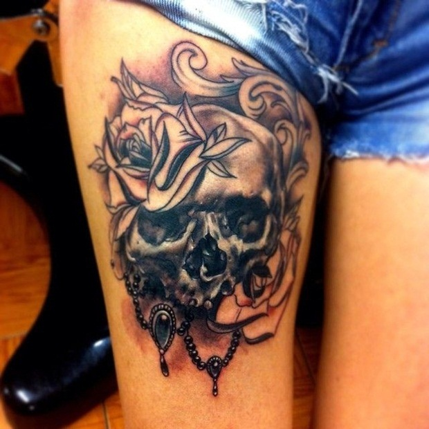 Awesome Skull Sleeve Tattoos Designs Women