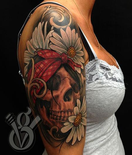 skull flowers daisy girl half sleeve color tattoo