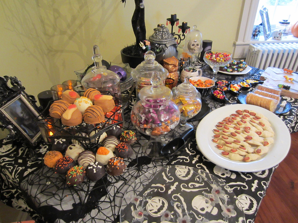 Halloween table Decorations with Food