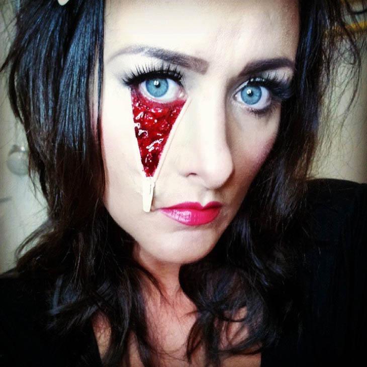 Scary Face Bellow Eye Halloween Zipper Makeup