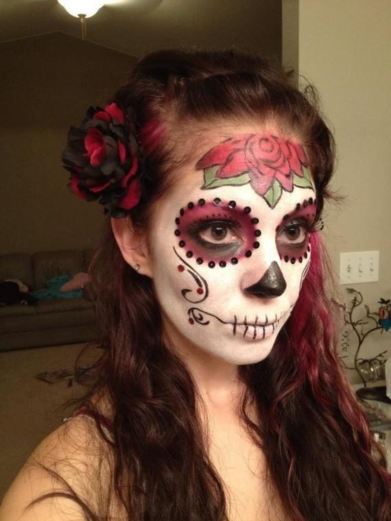 easy sugar skull red rose makeup